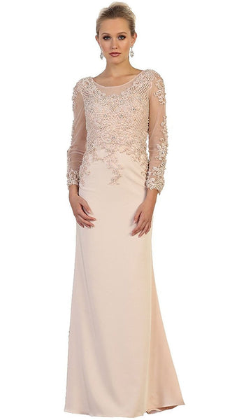 Embellished Long Sleeve Illusion Scoop Sheath Mother of the Bride Gown
