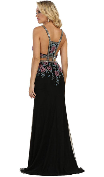 Beaded and Embroidered Sleeveless Sheath Evening Gown - ADASA