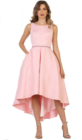 Embellished Bateau High Low A-line Cocktail Dress