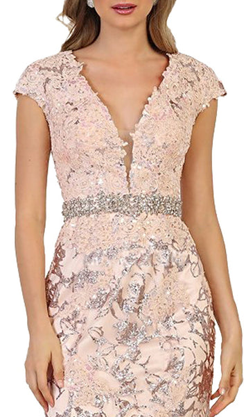 Floral Appliqued Deep V-neck Mermaid Mother of the Bride Gown