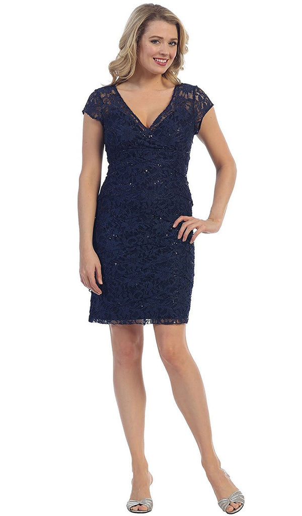 Cap Sleeve Lace V-Neck Sheath Cocktail Dress - ADASA