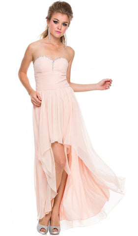 Strapless Ruched High Low Dress