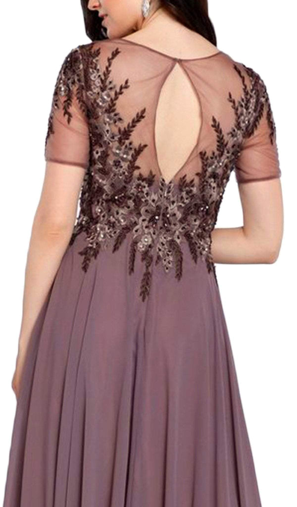 Nox Anabel - 5141 Embellished Illusion Jewel A-Line Dress