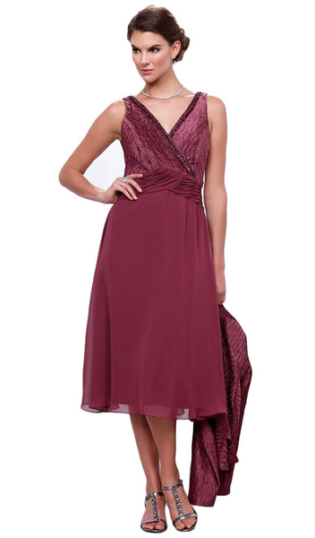Strapless V-Neck Tea Length Dress with Jacket