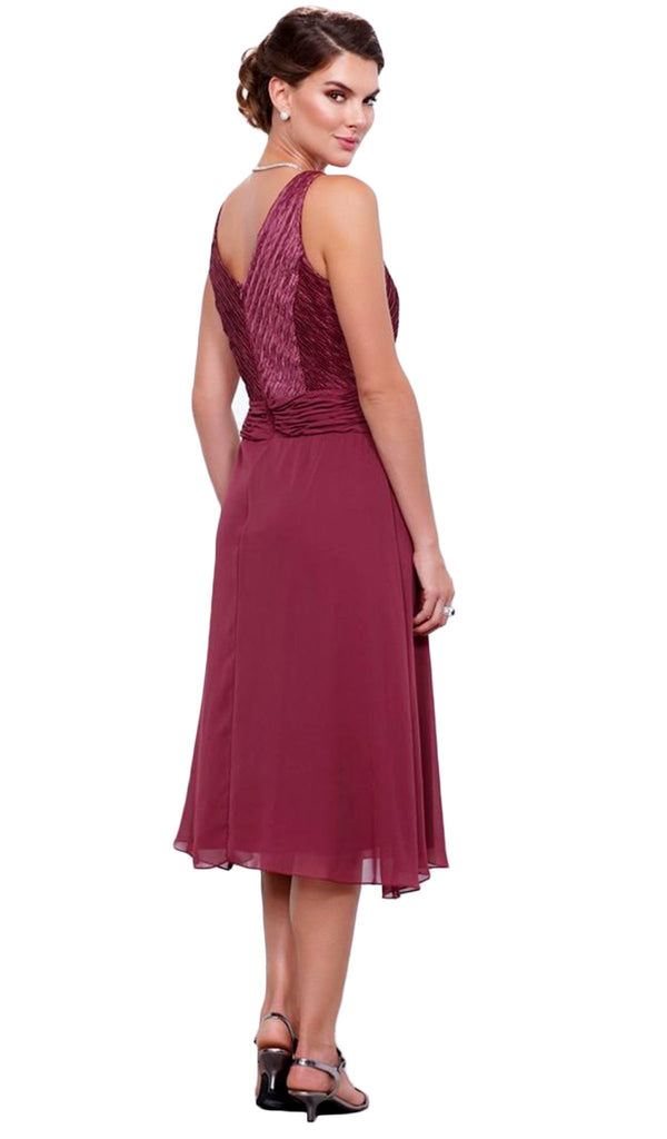 Nox Anabel - 5142 Strapless V-Neck Tea Length Dress with Jacket