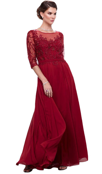 Nox Anabel - 5145 Embroidered Bateau Neck A-Line Gown