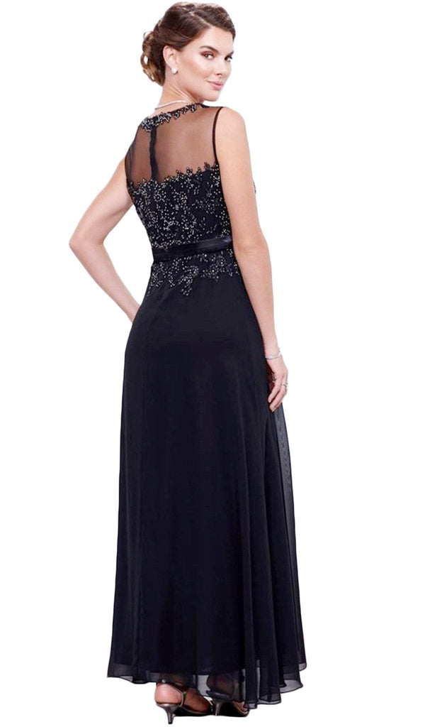 Nox Anabel - 5146 Beaded illusion Jewel Neck A-Line Dress