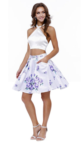 Two-Piece Halter Floral Print Cocktail Dress