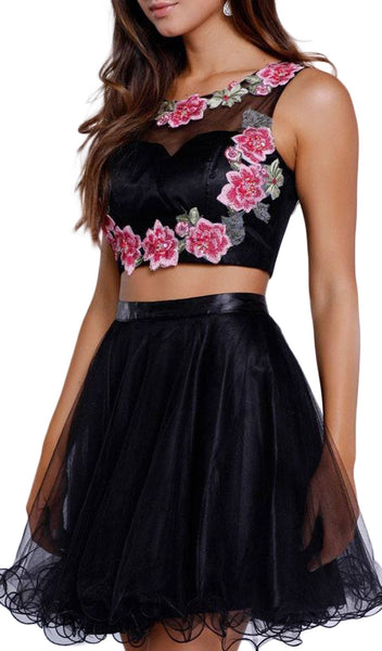 Embroidered Two-Piece Short A-line Dress