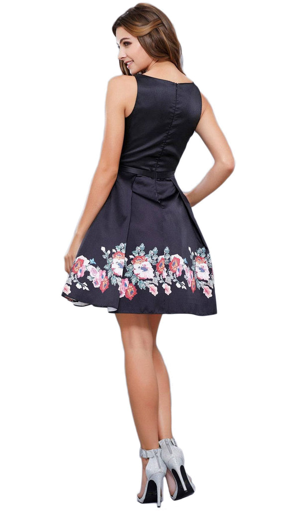 Chic Floral-Printed Bateau Cocktail Dress - ADASA