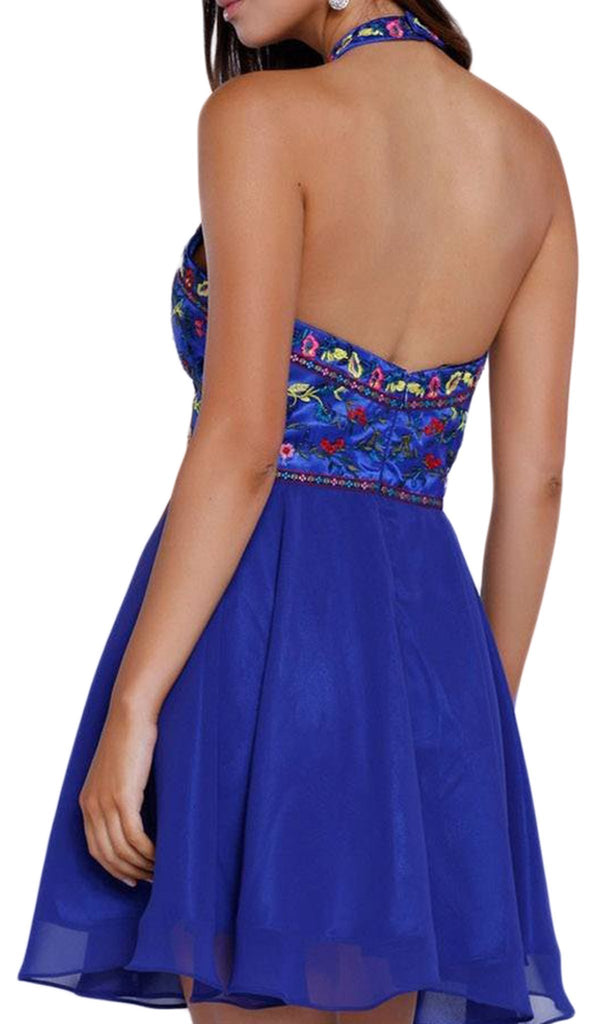Nox Anabel - 6235 Embroidered Halter Chiffon Short Dress