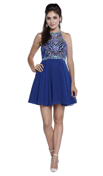 High Illusion Racerback Bejeweled Cocktail Dress