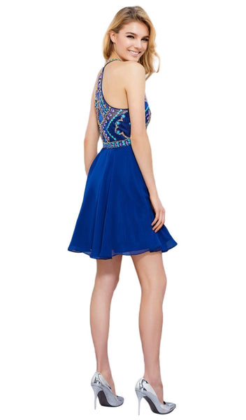 Nox Anabel - 6238 High Illusion Racerback Bejeweled Cocktail Dress