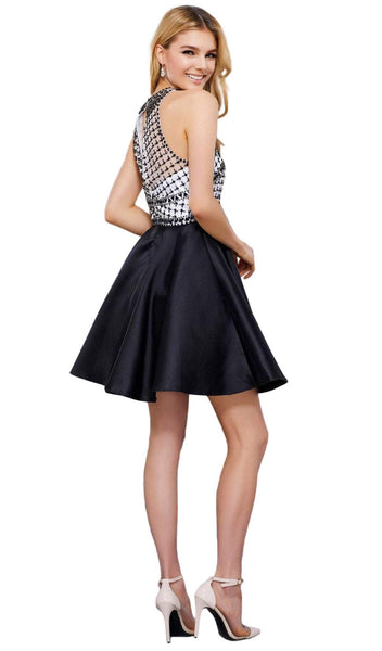 Nox Anabel - 6243 High Halter Illusion Lattice Cocktail Dress