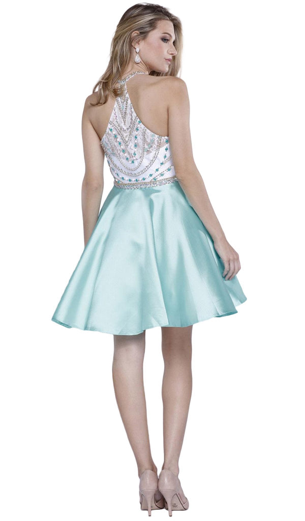 Beaded High Halter Illusion Satin Short Cocktail Dress - ADASA