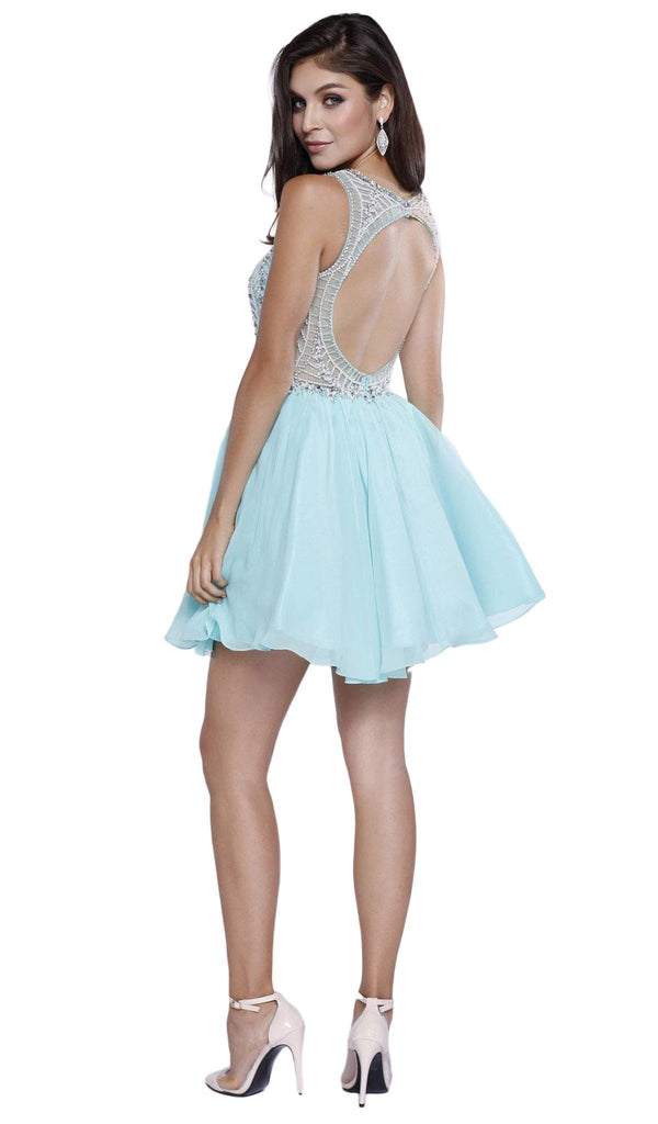 Nox Anabel - 6258 Embellished Halter Illusion Chiffon Dress