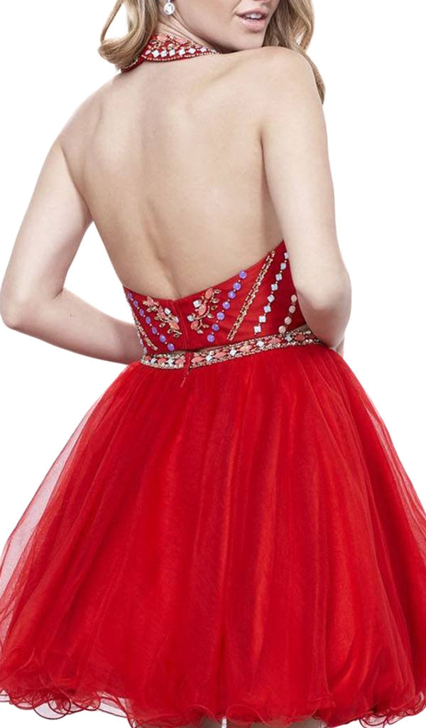 Two-Piece Halter Beaded Bodice Dress