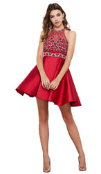 Bejeweled Halter Neck Dress