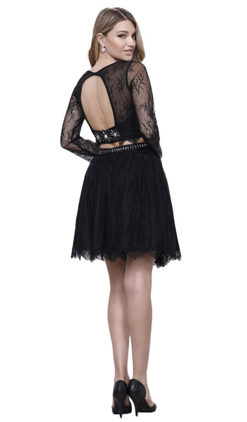 Two Piece Lace Long Sleeve Short Party Dress