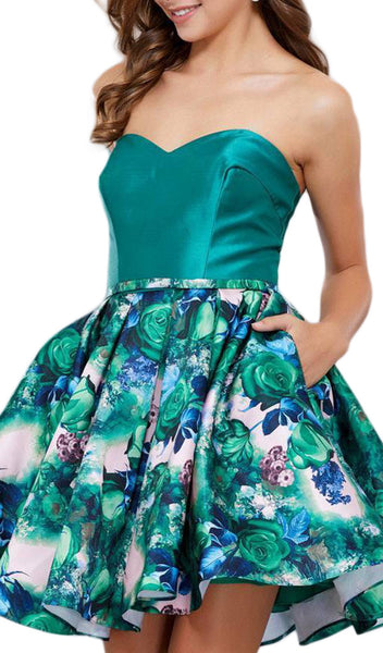 Floral Printed Strapless Sweetheart Short Cocktail Dress