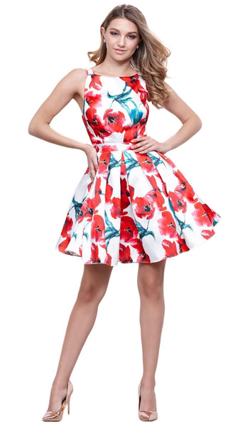 Nox Anabel - 6280 Stunning Bateau Floral A-Line Cocktail Dress