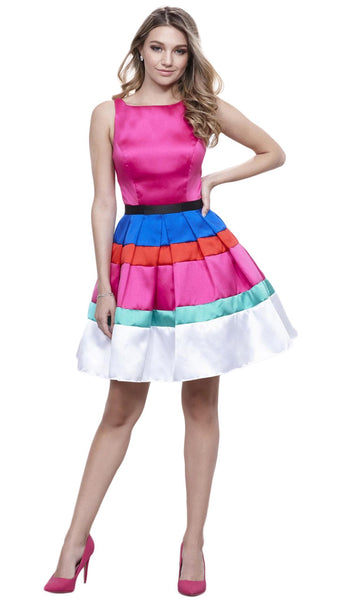 Sleeveless Bateau Mikado Short Party Dress