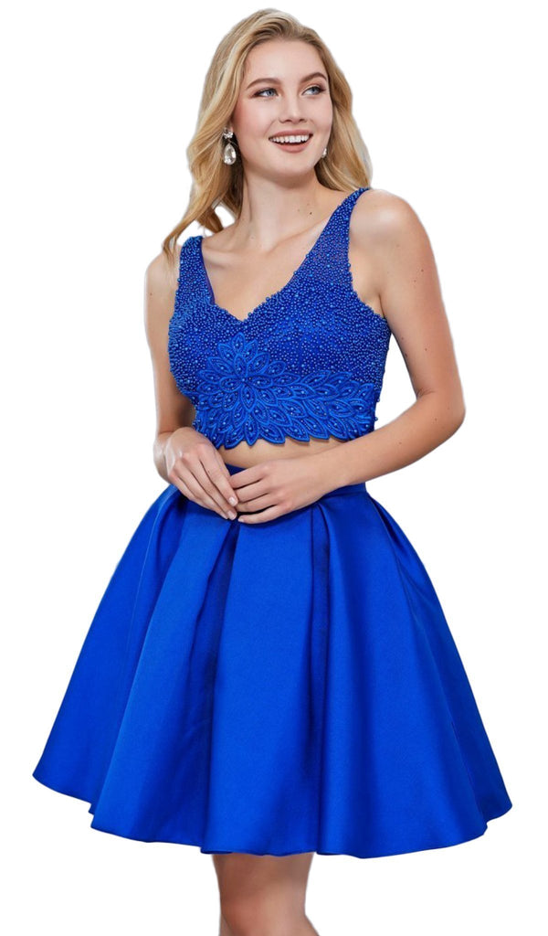 Nox Anabel - 6305 Two Piece Bedazzled V-Neck A-line Cocktail Dress