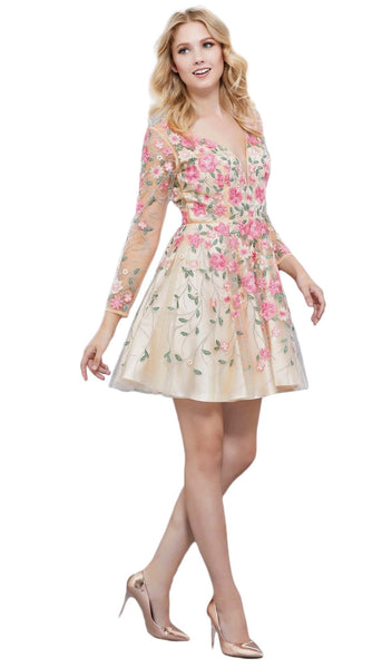 Long Sleeves Floral Embellished Cocktail Dress