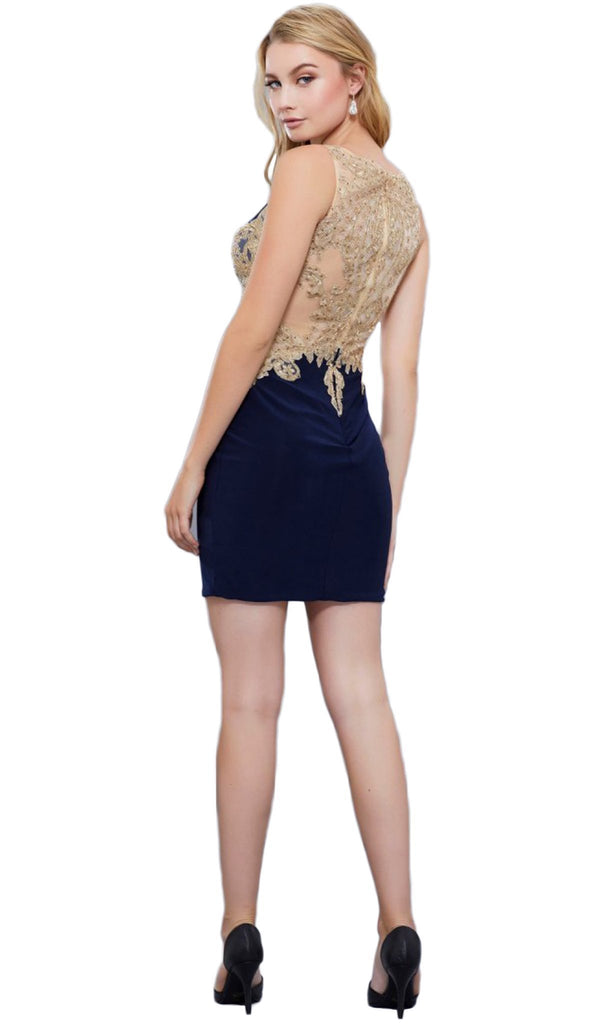 Nox Anabel - 6312 Gilded Bateau Neck Sheath Cocktail Dress