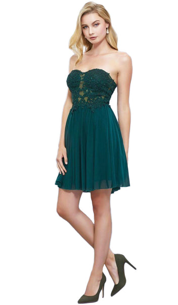 Nox Anabel - 6314 Strapless Embellished Sweetheart A-line Cocktail Dress