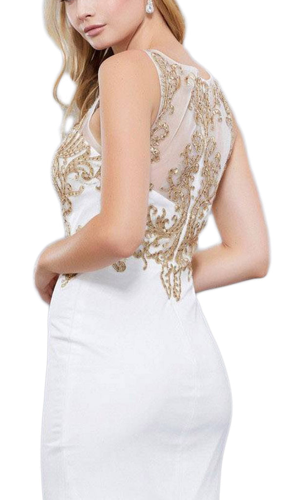 Sleeveless Lace Fitted Cocktail Dress