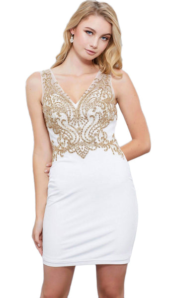 Nox Anabel - 6318 Sleeveless Lace Fitted Cocktail Dress