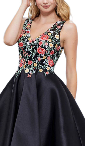 Floral Embroidered V Neck Cocktail Dress