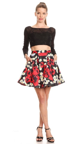 Long Sleeved Two-Piece Floral Party Cocktail Dress