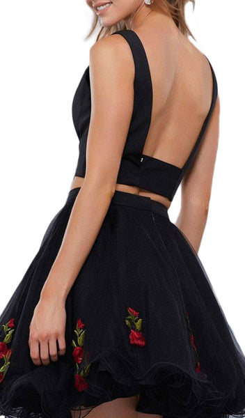 Two-Piece Floral Embroidered Cocktail Dress