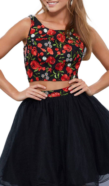 Two Piece Floral Embroidered Tulle Cocktail Dress