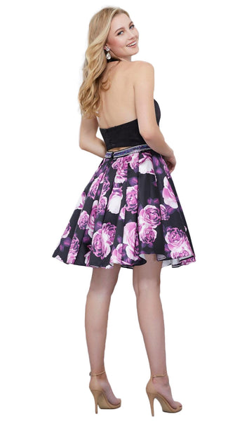 Two Piece Halter Floral Pleated Cocktail Dress