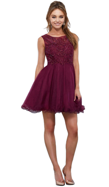 Nox Anabel - 6351 Ruffled Beaded Cocktail Dress