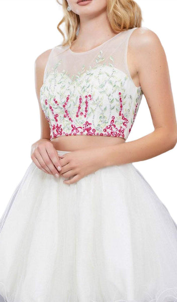 Nox Anabel - 6352 Two Piece Floral and Tulle Illusion Cocktail Dress