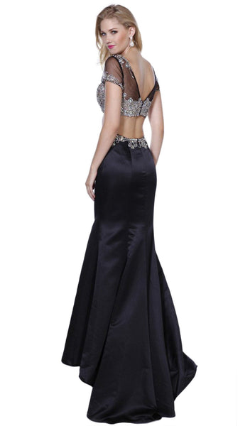 Two Piece Beaded Short Sleeves Trumpet Gown