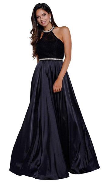 Nox Anabel - 8198 Sleeveless Embroidered and Beaded Halter Neck Long A-line Dress