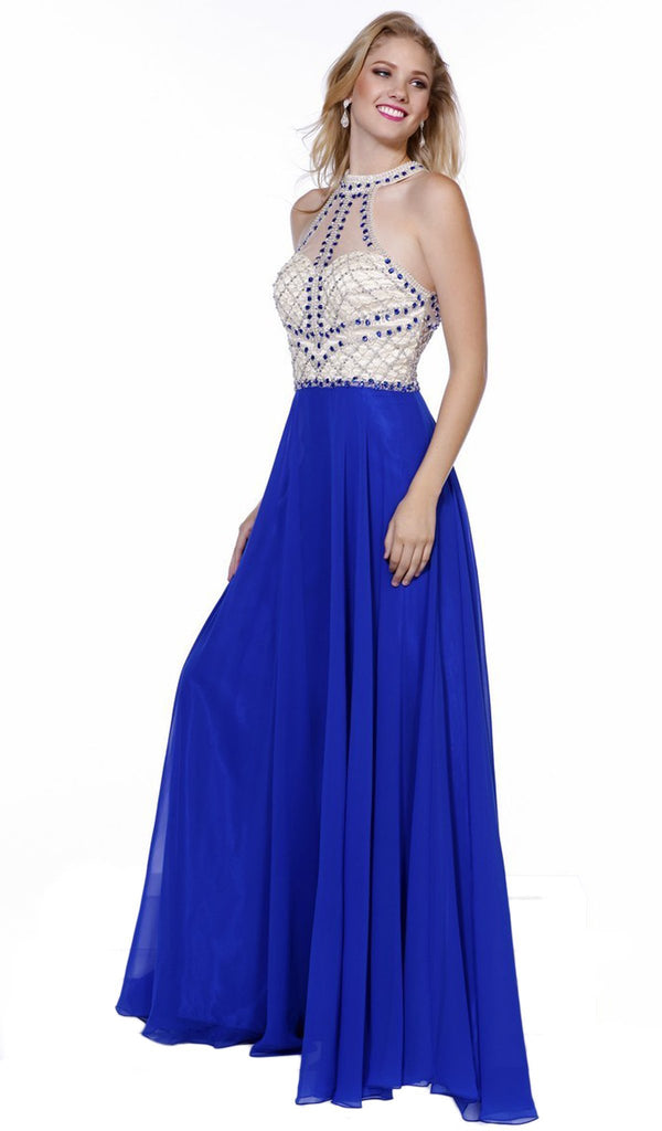 Beaded Sleeveless Halter Long Gown - ADASA