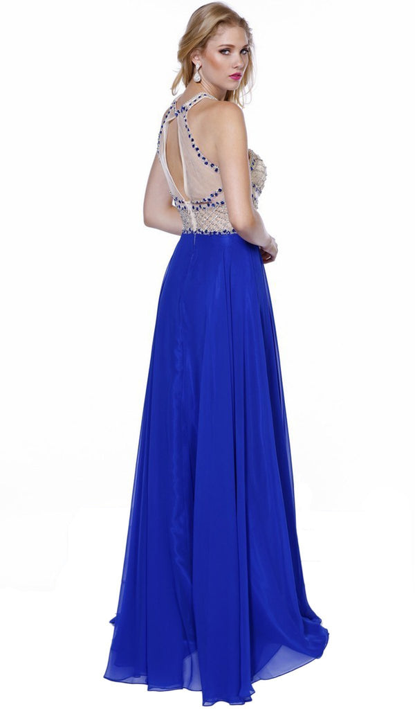 Nox Anabel - 8201 Beaded Sleeveless Halter Long Gown