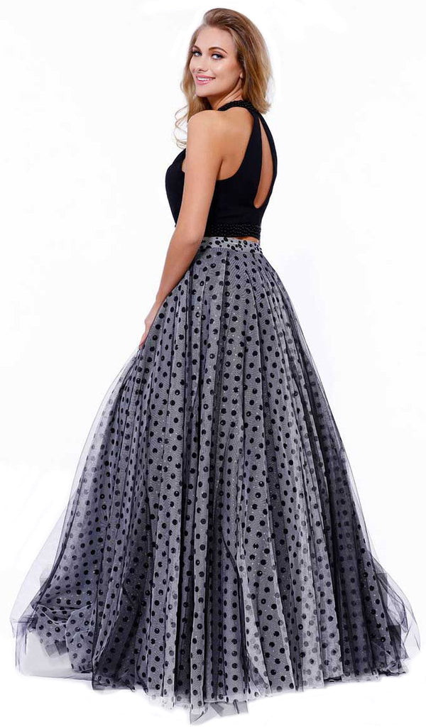 Two-Piece Halter Polka Dot Printed Evening Gown