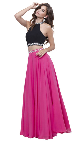 Elegant Two-Piece Bedazzled Halter Neck Long A-line Dress - ADASA