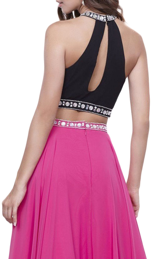 Nox Anabel - 8214 Elegant Two-Piece Bedazzled Halter Neck Long A-line Dress