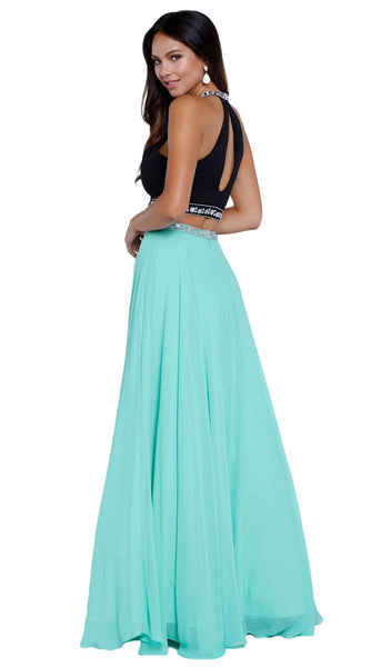 Elegant Two-Piece Bedazzled Halter Neck Long A-line Dress