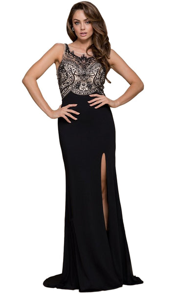 Sleeveless Beaded Long Gown with Slit
