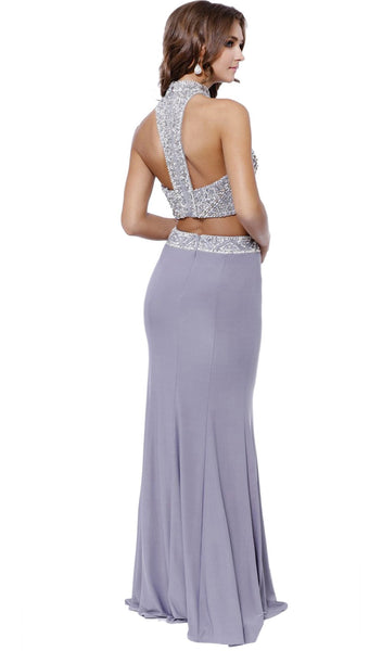 Two Piece High Neck Beaded Long Gown