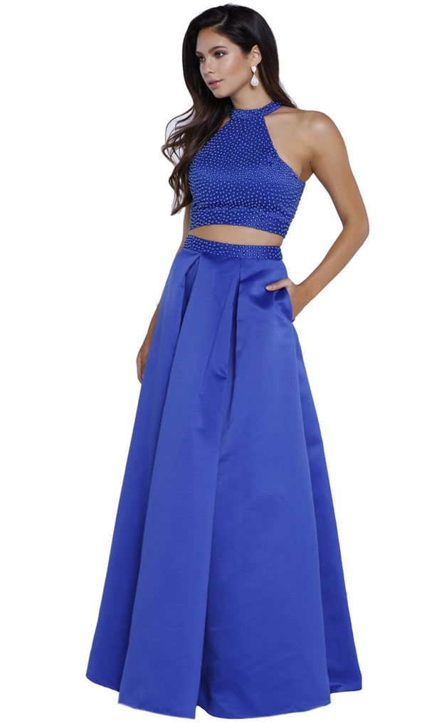 Two Piece Beaded Halter Evening Dress